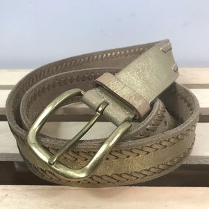 Nine West gold metallic genuine leather belt